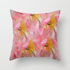 Fancy Painted Tulips Throw Pillow