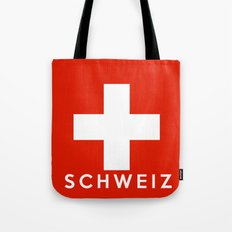 Switzerland Swiss country flag Schweiz german name text Tote Bag