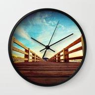 Wall Clock featuring Pier Walk by JMcCool