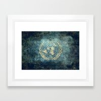 The United Nations Flag - Vintage version Framed Art Print