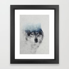 Grey Wolf In Fog Framed Art Print