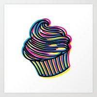 CMYK Cupcake Art Print