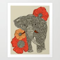 elephants Art Prints featuring The Elephant by Valentina Harper