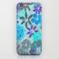 Aqua Blue Flower Power iPhone 6 Slim Case