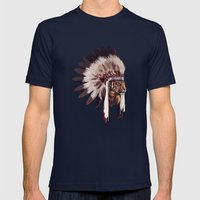 Tiger In War Bonnet Mens Fitted Tee Navy SMALL
