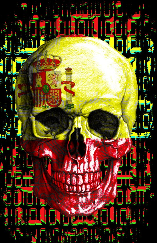 digital Skull (flag of spain) Art Print