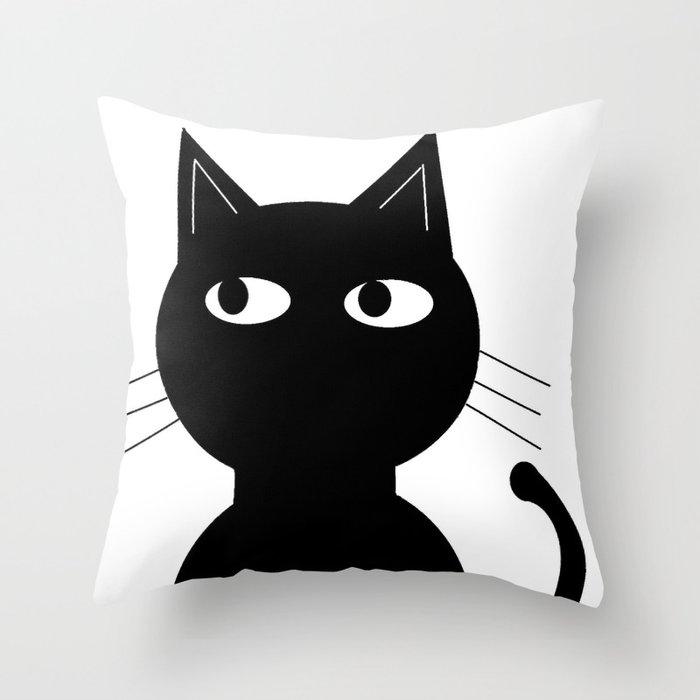 Cute Black Pillows : Cute Black Cat Throw Pillow by Jensen Merrell Designs Society6