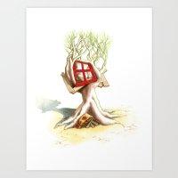 CabanArbre-Fenêtre-Rouge Art Print