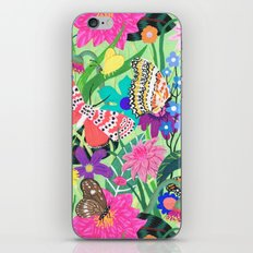 Butterfly and Moths Pattern - Green iPhone & iPod Skin