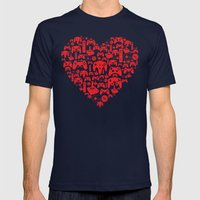 Gaming Love Mens Fitted Tee Navy SMALL