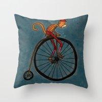 Penny Farthing Pete Throw Pillow