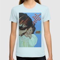 Pat Joy Womens Fitted Tee Light Blue SMALL