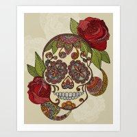 sugar skull Art Prints featuring Sugar Skull by Valentina Harper