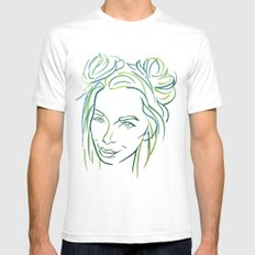 Green Portrait SMALL Mens Fitted Tee White