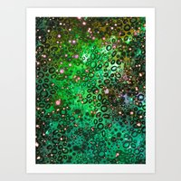 RAINBOW DOTTY OCEAN 3 Green Lime Ombre Space Galaxy Colorful Polka Dot Bubbles Abstract Painting Art Art Print