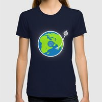 Music Makes The World Go… Womens Fitted Tee Navy SMALL