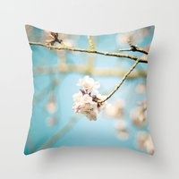 Cherry Blossom, Pink Flowers and Blue Sky. Throw Pillow