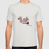 Swirly Bird Mens Fitted Tee Silver SMALL