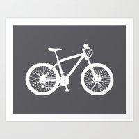 Mountain Bike Charcoal Art Print