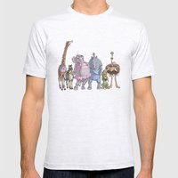Animal Mural Crew Mens Fitted Tee Ash Grey SMALL