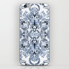 Indigo, Navy Blue and White Calligraphy Doodle Pattern iPhone & iPod Skin