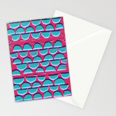 Pink & Blue Semi-circle pattern lino and digital print Stationery Cards
