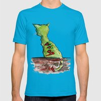 Reflective Zombie Cat Mens Fitted Tee Teal SMALL