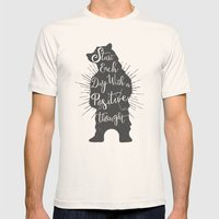 Positive Bear Mens Fitted Tee Natural SMALL