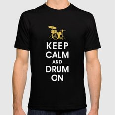 Keep Calm and Drum On  Black SMALL Mens Fitted Tee