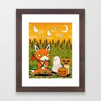 The Fox And The Pumpkin Framed Art Print