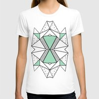 Ab Lines and Spots Mint Womens Fitted Tee White SMALL
