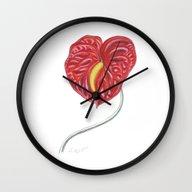 Anthurium 01 Botanical F… Wall Clock
