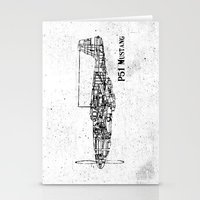 North American P51 Mustang (black) Stationery Cards