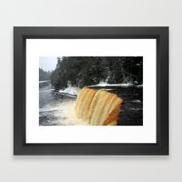 Wintry Waterfall Framed Art Print