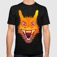 Flaming Dragon Mens Fitted Tee Tri-Black SMALL