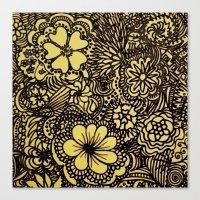 Hippy Happy Golden Flower power Canvas Print