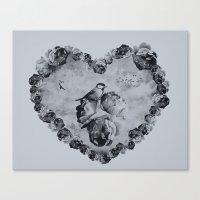Blue Bird Heart Canvas Print