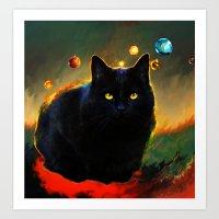 black cat Art Prints featuring black cat by ururuty