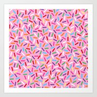 Pink Donut with Sprinkles Art Print