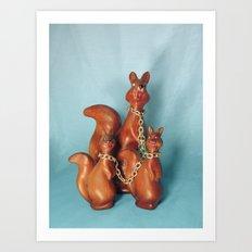 Wooden Squirrel Bondage Family Art Print