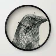 Wall Clock featuring American Crow by Bonnie Johnson