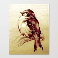 Sparrow in the Cold Canvas Print