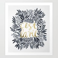 C'est La Vie – Grey & … Art Print