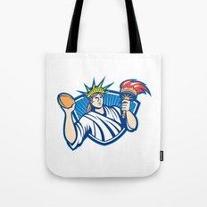 Statue of Liberty Throwing Football Ball Tote Bag