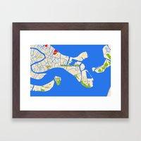 Venice Italy Map design - Venazia Italia Framed Art Print