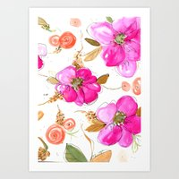 All-Pink Double Spring Floral Art Print