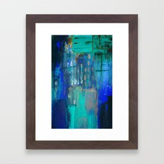 Blue Green Abstract on Canvas Framed Art Print