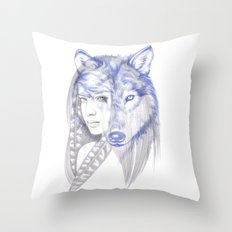 She Wolf Throw Pillow