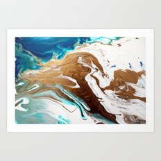 Gold Abstract Flow Painting Art Print