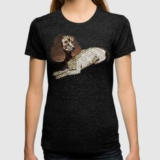 Dachshund Dog Collage in Teal Womens Fitted Tee Tri-Black SMALL
